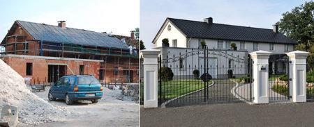 Gebäudesanierung vorher/nachher